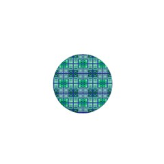 Mod Blue Green Square Pattern 1  Mini Buttons