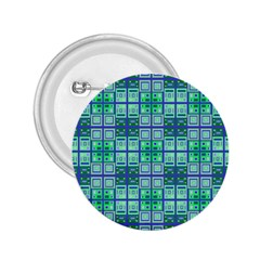Mod Blue Green Square Pattern 2 25  Buttons