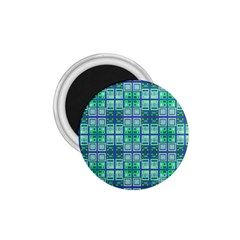 Mod Blue Green Square Pattern 1 75  Magnets