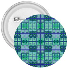 Mod Blue Green Square Pattern 3  Buttons