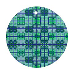 Mod Blue Green Square Pattern Ornament (round) by BrightVibesDesign