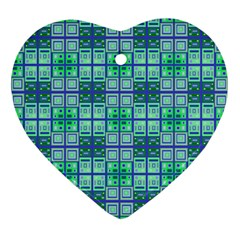 Mod Blue Green Square Pattern Ornament (heart)