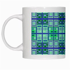 Mod Blue Green Square Pattern White Mugs