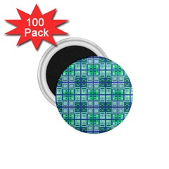 Mod Blue Green Square Pattern 1 75  Magnets (100 Pack)