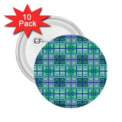 Mod Blue Green Square Pattern 2 25  Buttons (10 Pack)