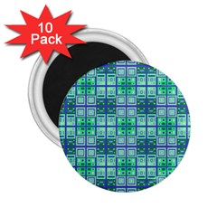 Mod Blue Green Square Pattern 2 25  Magnets (10 Pack)