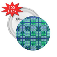 Mod Blue Green Square Pattern 2 25  Buttons (100 Pack)