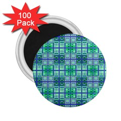 Mod Blue Green Square Pattern 2 25  Magnets (100 Pack)