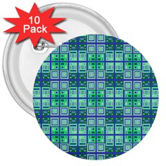 Mod Blue Green Square Pattern 3  Buttons (10 Pack)