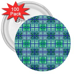 Mod Blue Green Square Pattern 3  Buttons (100 Pack)
