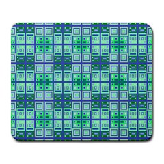 Mod Blue Green Square Pattern Large Mousepads