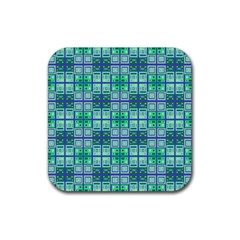 Mod Blue Green Square Pattern Rubber Coaster (square)