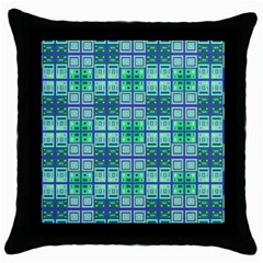 Mod Blue Green Square Pattern Throw Pillow Case (black)