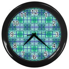 Mod Blue Green Square Pattern Wall Clock (black)