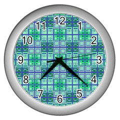 Mod Blue Green Square Pattern Wall Clock (silver)