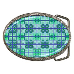 Mod Blue Green Square Pattern Belt Buckles by BrightVibesDesign