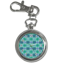 Mod Blue Green Square Pattern Key Chain Watches