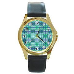 Mod Blue Green Square Pattern Round Gold Metal Watch