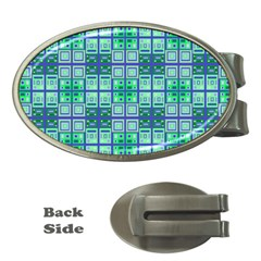 Mod Blue Green Square Pattern Money Clips (oval)