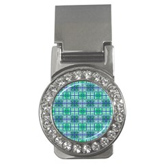 Mod Blue Green Square Pattern Money Clips (cz)