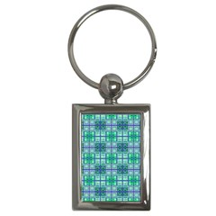 Mod Blue Green Square Pattern Key Chains (rectangle)