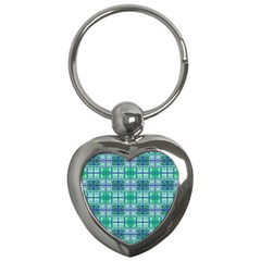 Mod Blue Green Square Pattern Key Chains (heart)