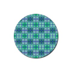 Mod Blue Green Square Pattern Rubber Round Coaster (4 Pack)