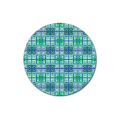 Mod Blue Green Square Pattern Magnet 3  (round)