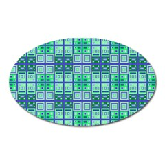 Mod Blue Green Square Pattern Oval Magnet