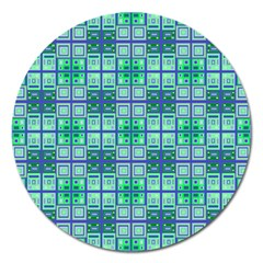Mod Blue Green Square Pattern Magnet 5  (round)