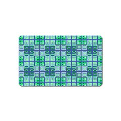 Mod Blue Green Square Pattern Magnet (name Card)