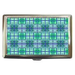 Mod Blue Green Square Pattern Cigarette Money Case