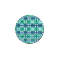 Mod Blue Green Square Pattern Golf Ball Marker