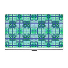 Mod Blue Green Square Pattern Business Card Holder