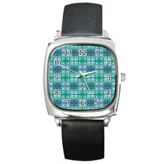 Mod Blue Green Square Pattern Square Metal Watch