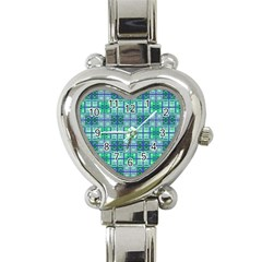 Mod Blue Green Square Pattern Heart Italian Charm Watch