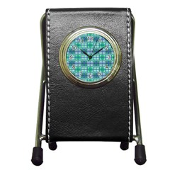Mod Blue Green Square Pattern Pen Holder Desk Clock