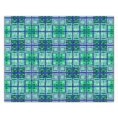 Mod Blue Green Square Pattern Rectangular Jigsaw Puzzl