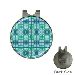 Mod Blue Green Square Pattern Hat Clips With Golf Markers