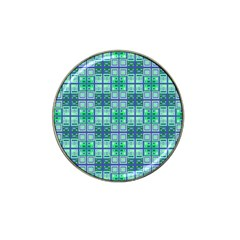 Mod Blue Green Square Pattern Hat Clip Ball Marker