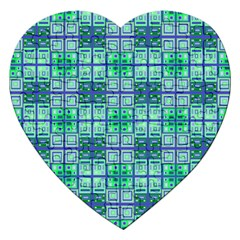 Mod Blue Green Square Pattern Jigsaw Puzzle (heart)