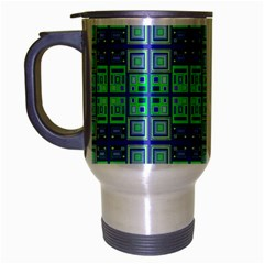 Mod Blue Green Square Pattern Travel Mug (silver Gray)