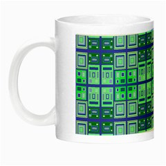 Mod Blue Green Square Pattern Night Luminous Mugs