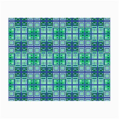 Mod Blue Green Square Pattern Small Glasses Cloth