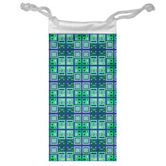 Mod Blue Green Square Pattern Jewelry Bag
