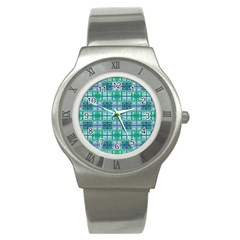 Mod Blue Green Square Pattern Stainless Steel Watch