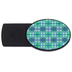 Mod Blue Green Square Pattern Usb Flash Drive Oval (4 Gb)