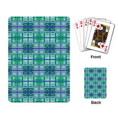 Mod Blue Green Square Pattern Playing Cards Single Design
