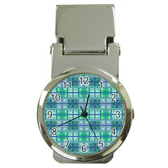 Mod Blue Green Square Pattern Money Clip Watches