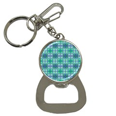 Mod Blue Green Square Pattern Bottle Opener Key Chains